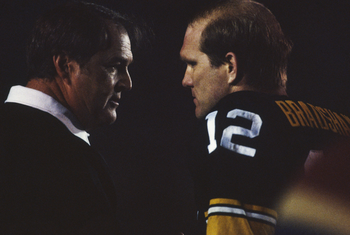 Noll and Bradshaw during Super Bowl XIV against the Los Angeles Rams on January 20, 1980/