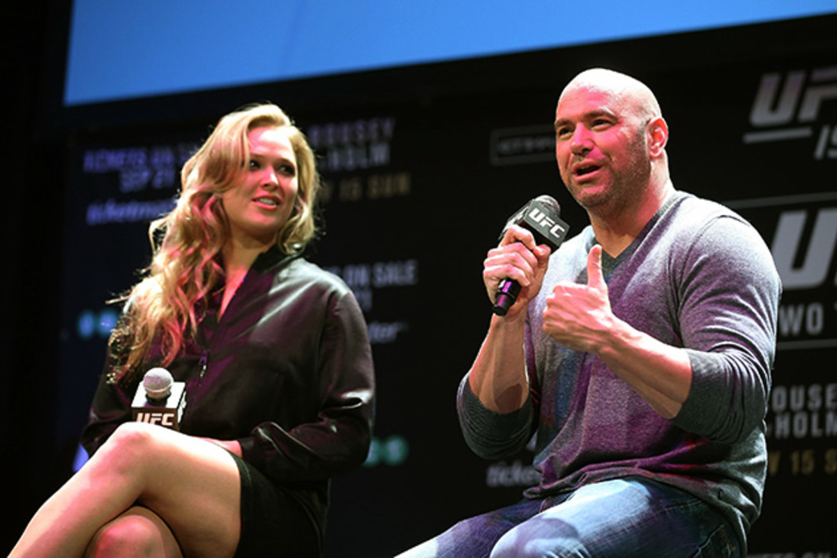 Dana White speaks at a press event with UFC superstar Ronda Rousey.