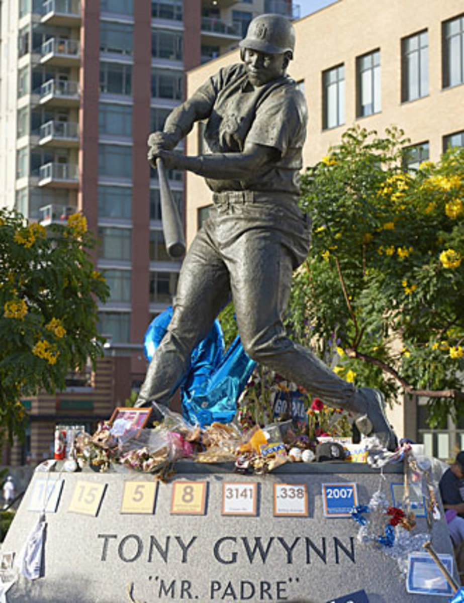 The statue of Gwynn outside Petco Park became a place for tributes to the Padres' legend after his death.