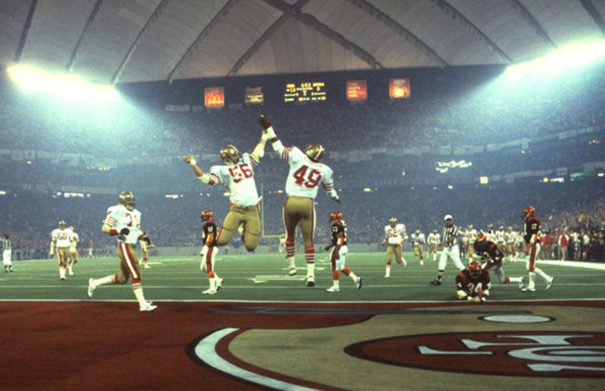 The 49ers celebrate a touchdown in Super Bowl XVI.