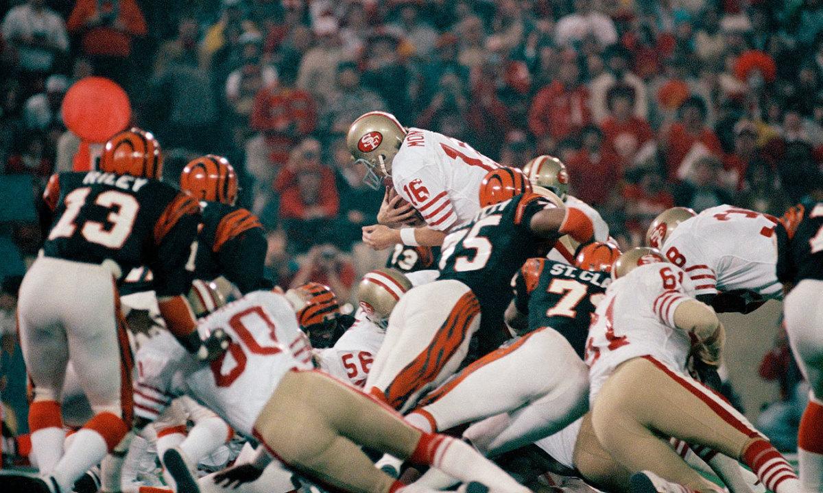 Joe Montana goes over the top in Super Bowl XVI.