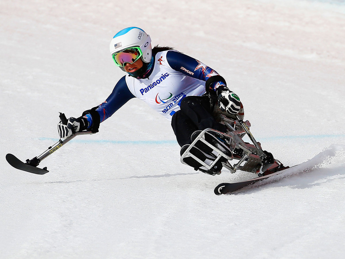 Alana Nichols competing in the 2014 Paralympic Winter Games in Sochi.