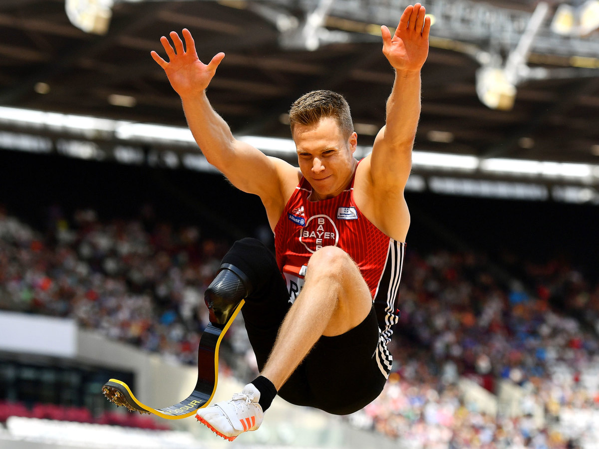 Germany's Markus Rehm jumps at the Muller Anniversary Games.