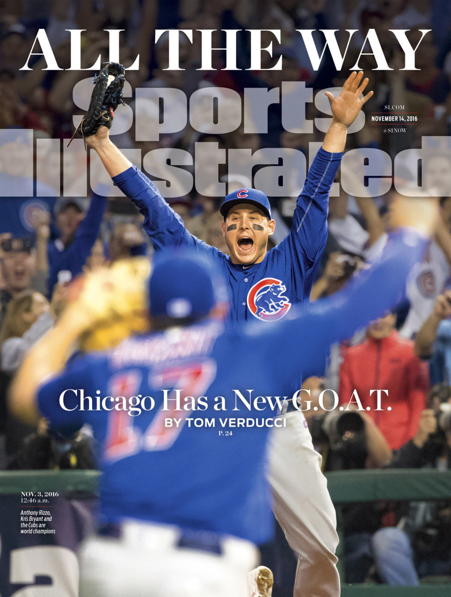 An exuberant Anthony Rizzo is featured on the cover of Sports Illustrated commemorating the Chicago Cubs' World Series win. Rizzo's exuberance is certainly justified by the 108 years it took the Cubs to secure a World Series championship, which they finally did in the early hours of Thursday morning with an 8–7, extra inning victory over the Cleveland Indians after a rain delay. SI's Tom Verducci writes in the cover story that the city now has a new player to be called the greatest of all time.