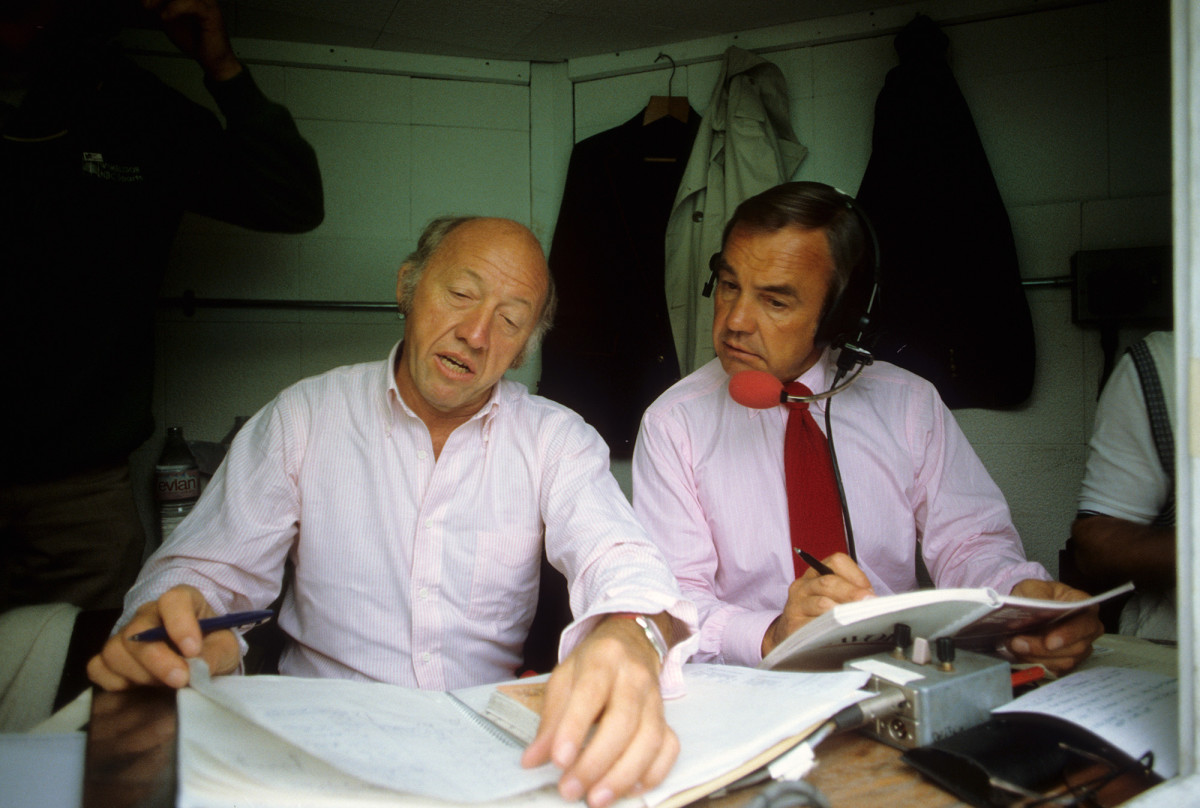 Bud Collins and Enberg in the television booth at the All England Club in July 1982.
