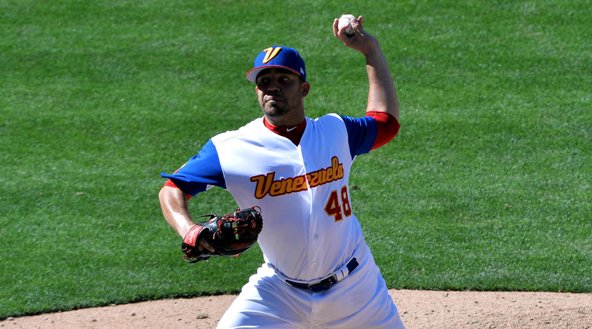 Mar 18, 2017; San Diego, CA, USA; Venezuela pitcher Jose Alvarez (48) delivers a pitch during the eighth inning against Puerto Rico during the 2017 World Baseball Classic at Petco Park. Puerto Rico won 13-2. Mandatory Credit: Orlando Ramirez-USA TODAY Sports