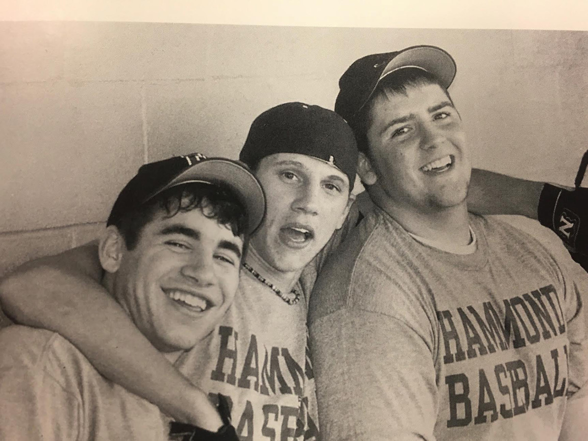 Pete Golding, Alabama's defensive coordinator, is shown here (left) with friends Scott Eyster (middle) and Ryan Barker (right) in the Hammond High yearbook.