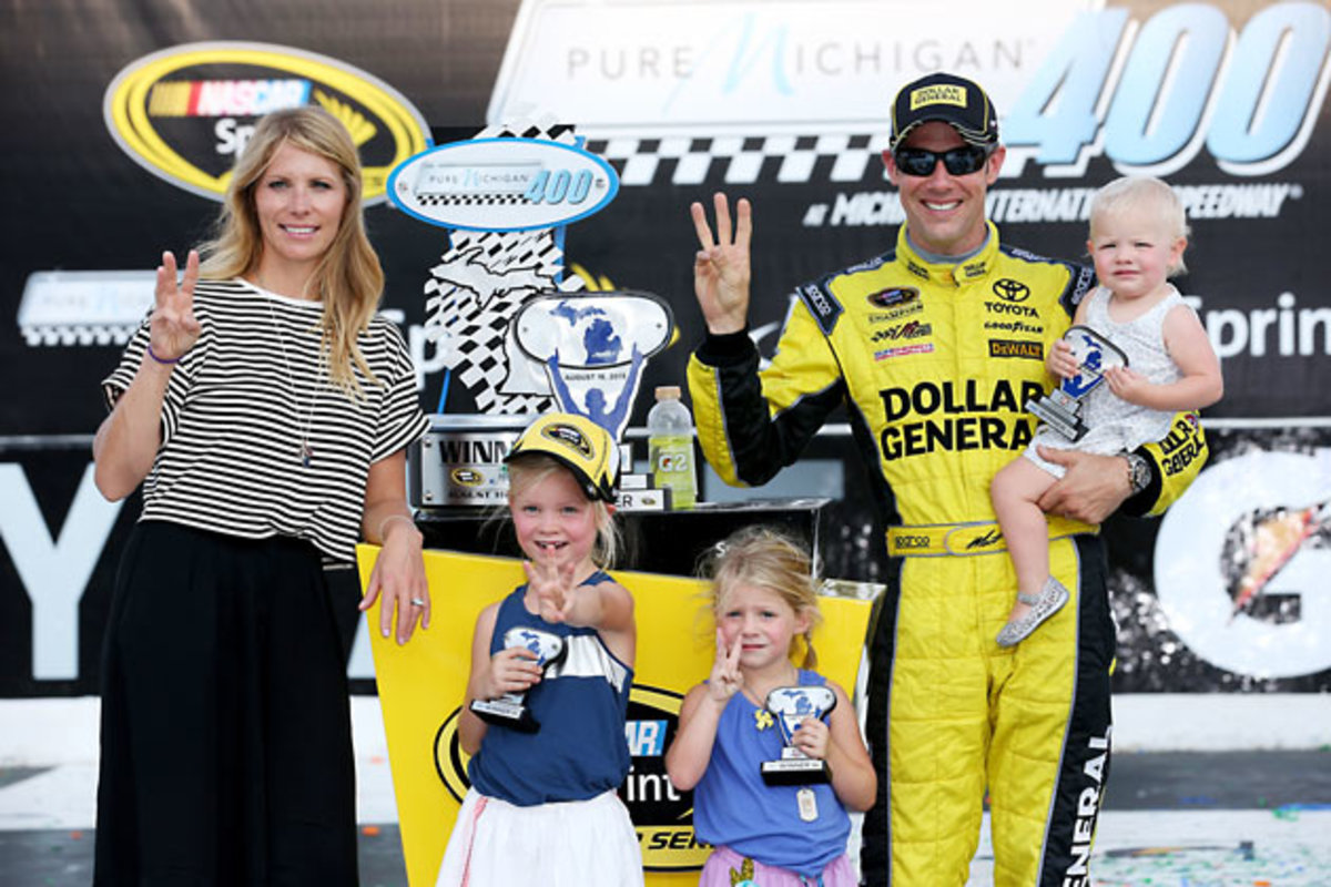 Matt Kenseth with (left to right) wife Katie, and daughters Kaylin, Grace and Clara.