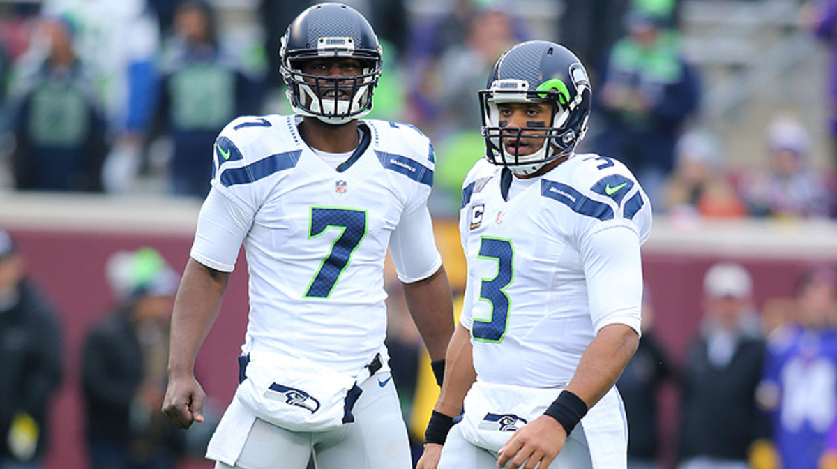 With Tarvaris Jackson (left) unsigned, the Seahawks might be in the market for a backup to Russell Wilson.