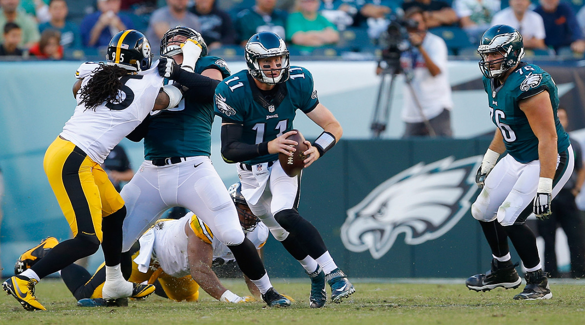 Carson Wentz recorded his highest passer rating of the young season, 125.9, in a 34-3 blowout win over the Steelers.