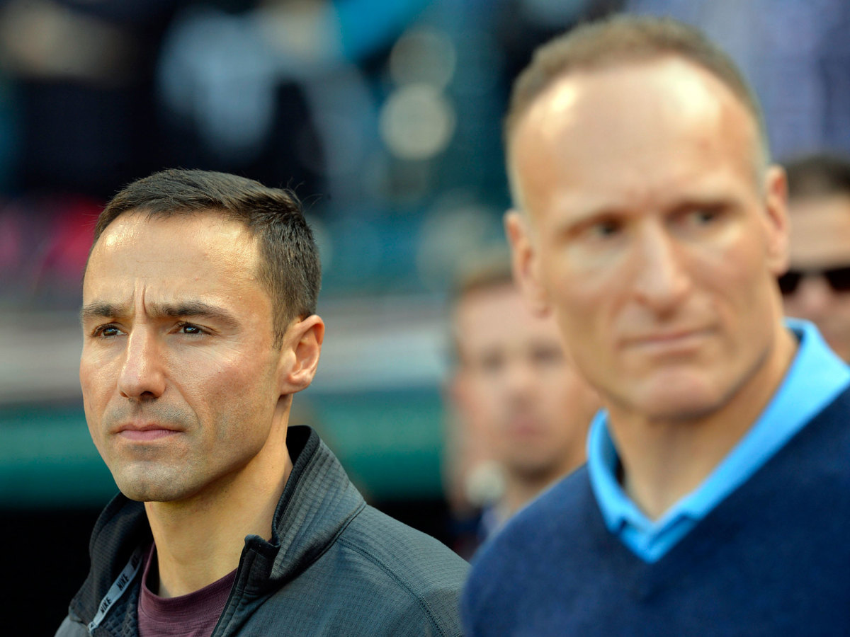 Indians president Chris Antonetti (left) learned from predecessor Mark Shapiro that trades are a zero-sum game.