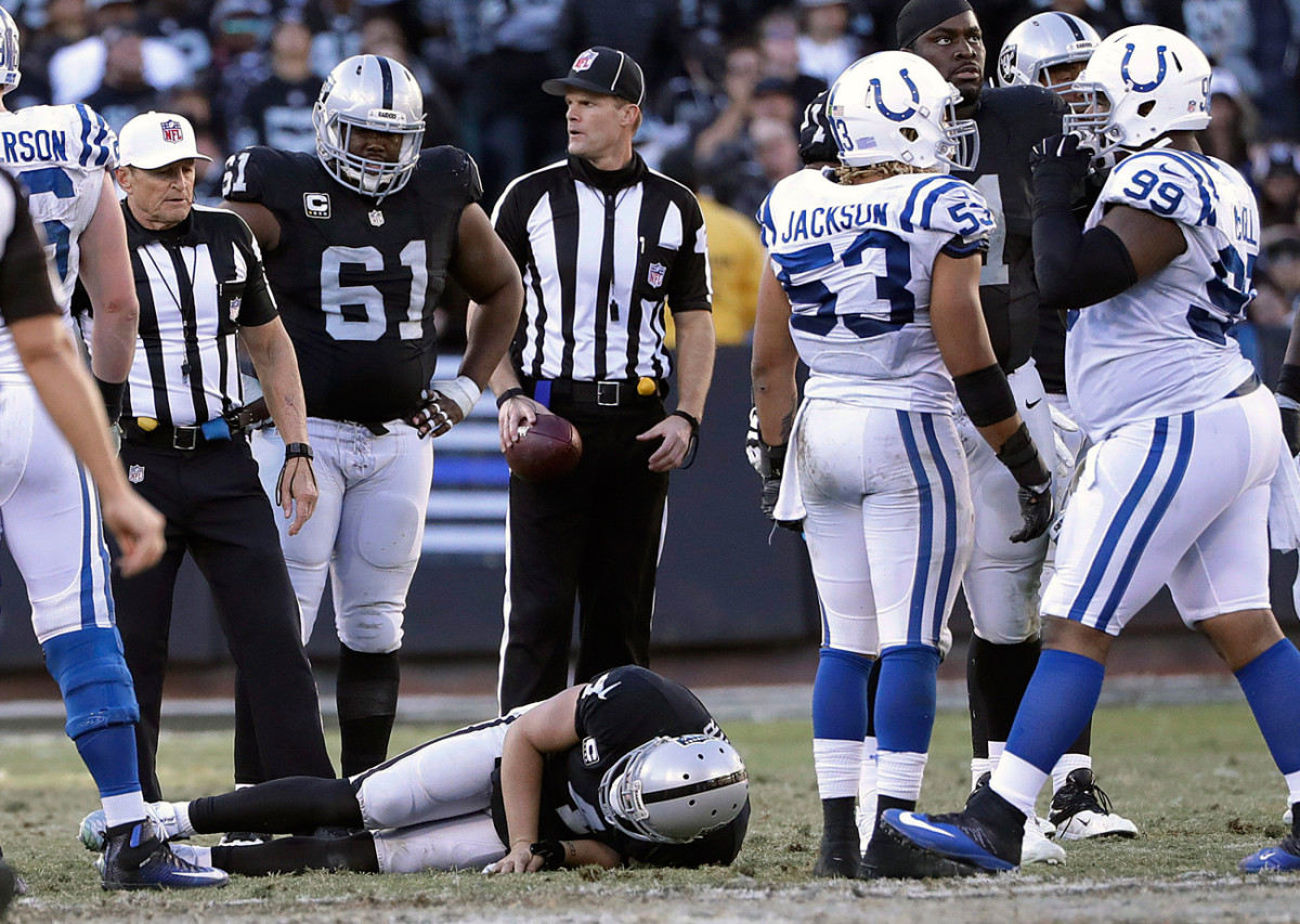 Raiders quarterback Derek Carr broke his fibula against the Colts and is slated to have surgery early this week.
