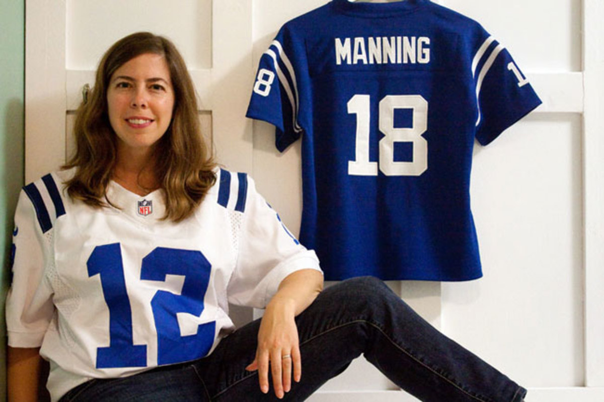 Angie Six with her Andrew Luck and Peyton Manning jerseys.