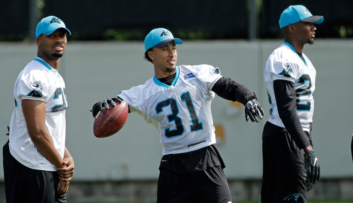 The Panthers' three rookie cornerbacks, from left: Daryl Worley, Zack Sanchez and James Bradberry.
