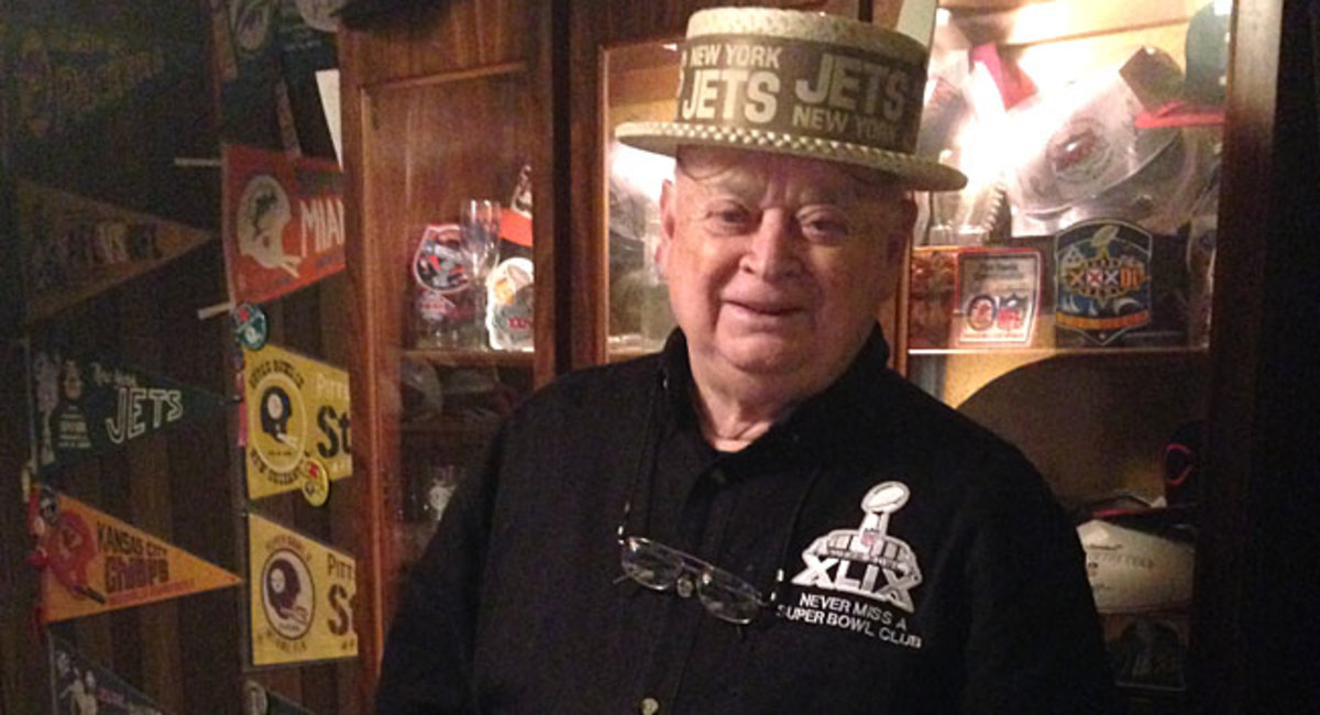 Don Crisman with a hat from Super Bowl III.