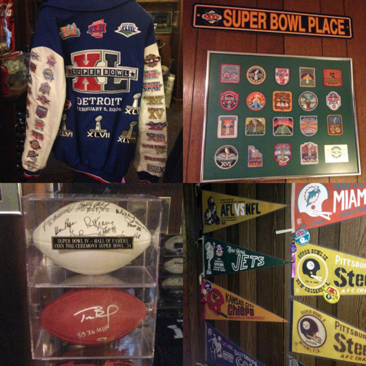 Crisman's memorabilia, including jacket, signed balls and more.