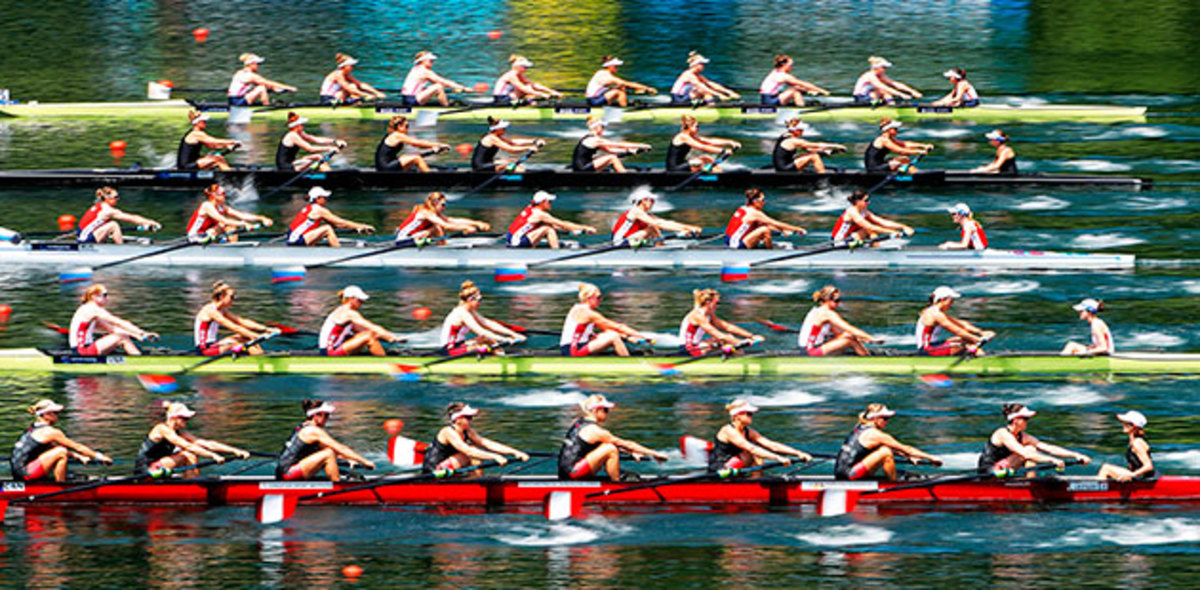 The U.S. women's eight (second from bottom) racing at the World Rowing Cup II in Lucerne, Switzerland in May.