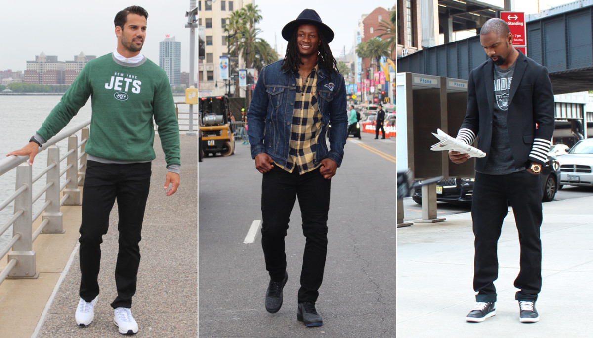 Jets WR Eric Decker, Rams RB Todd Gurley and retired Raiders DB Charles Woodson are also featured in promotion for NFL apparel.