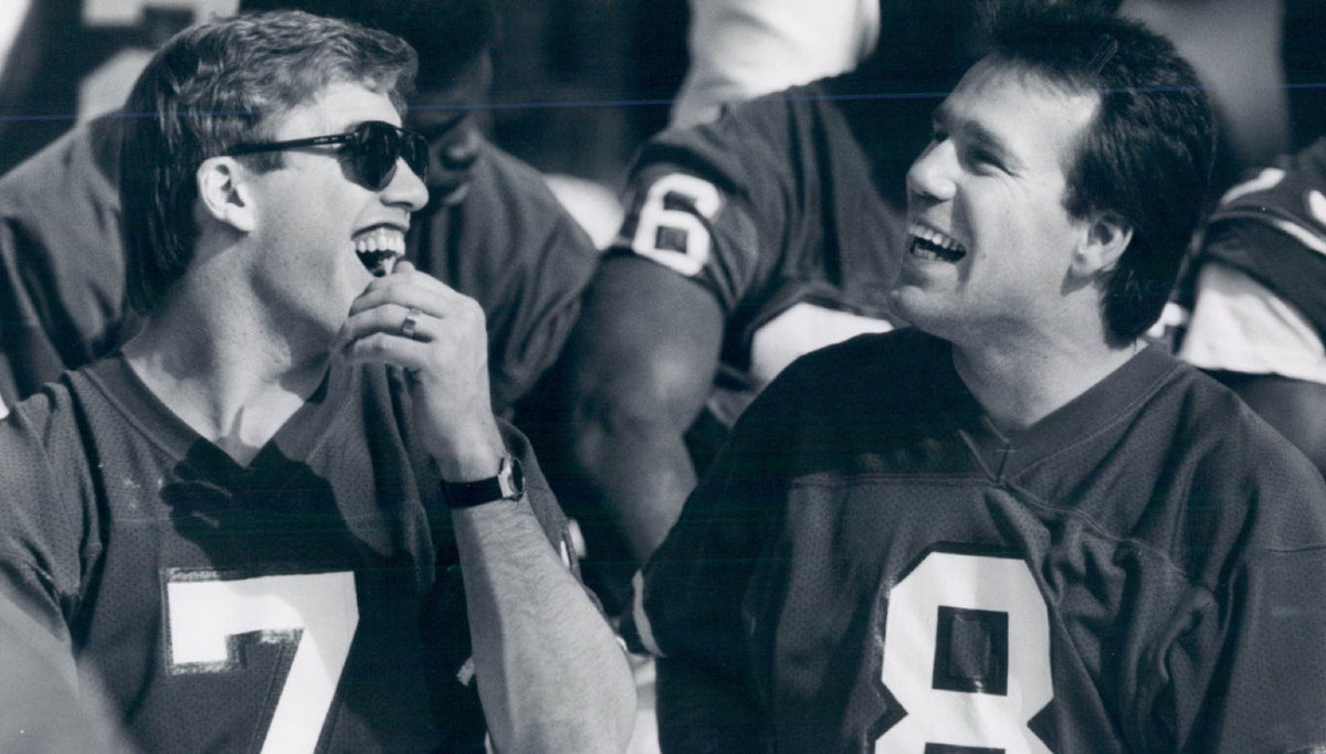 Kubiak (right) was Elway's backup in three Super Bowls, then Denver's QB coach and offensive coordinator in Elway's final two Super Bowl appearances; now he's coaching in a Super Bowl under Elway the GM.