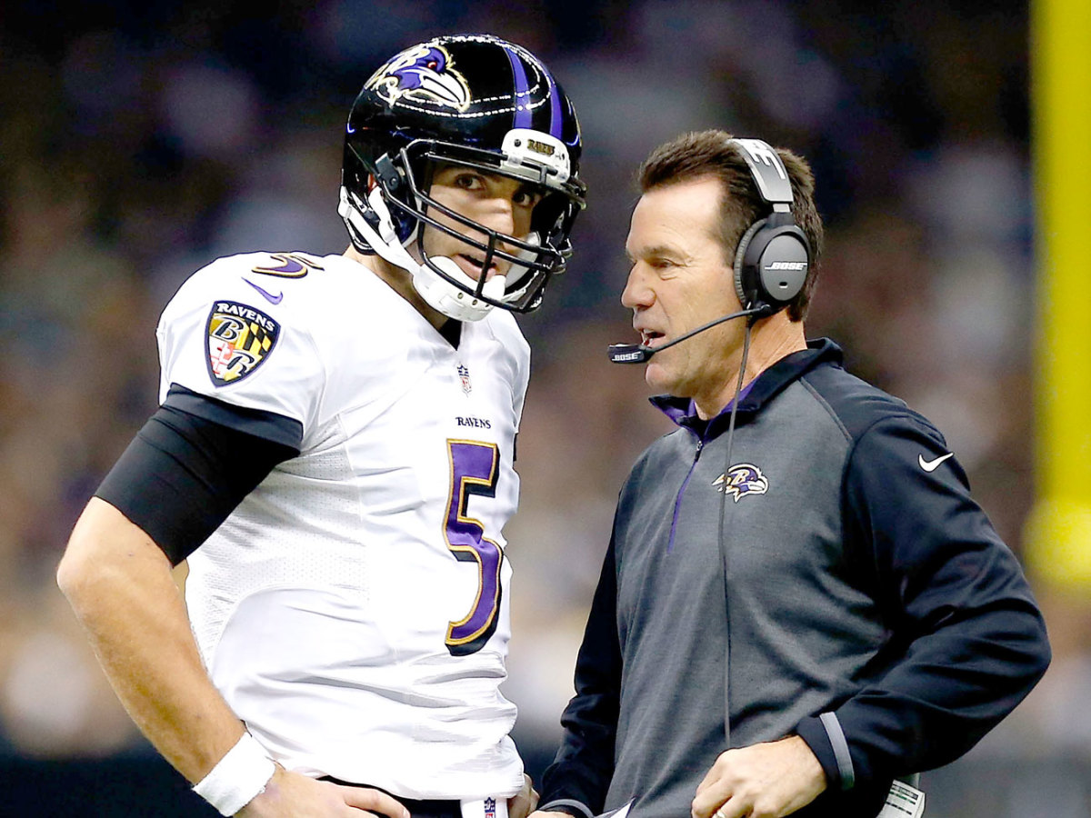 Flacco's QB rating jumped 18 points in 2014, when Kubiak became Baltimore's offensive coordinator—and it dropped eight points in 2015, after Kubs left.