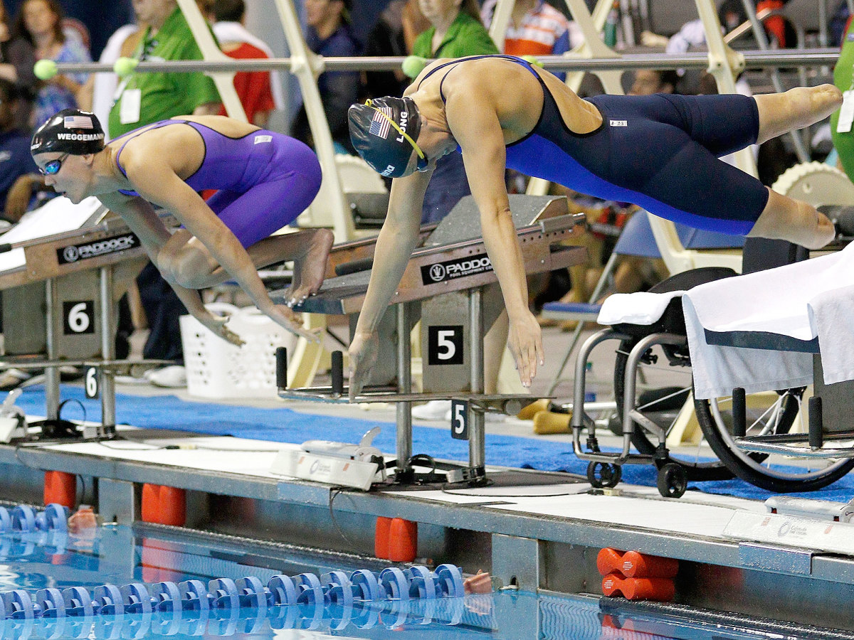Mallory Weggemann and Jessica Long at the U.S. Paralympic Swimming Trials