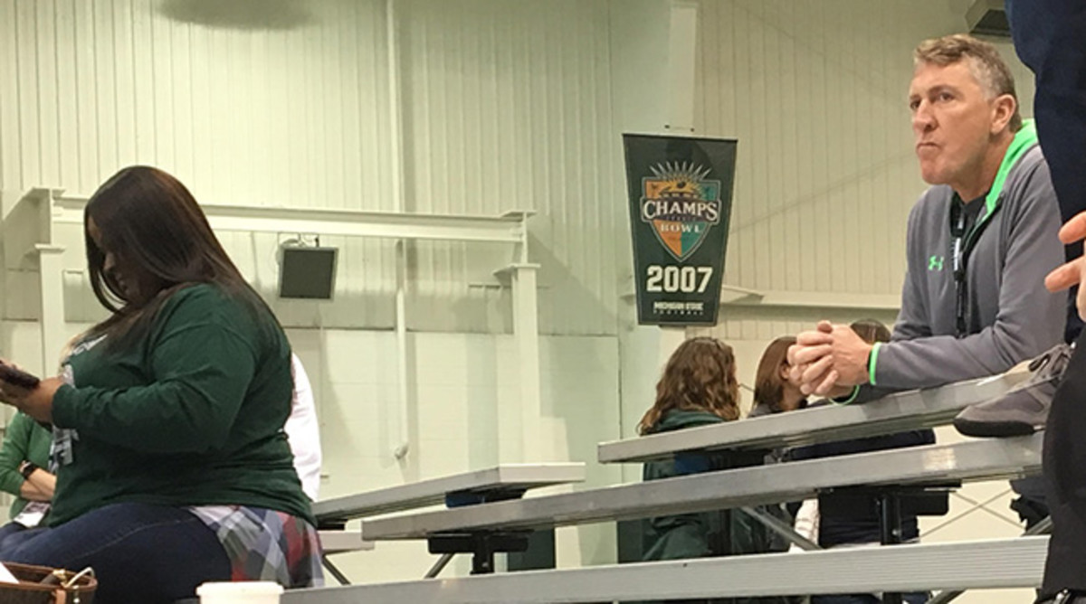Chris Cook watches his son's pro day at Michigan State.
