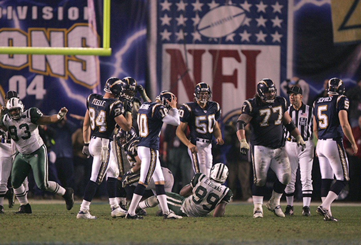 The immediate aftermath of Kaeding's overtime miss during the 2005 playoffs.