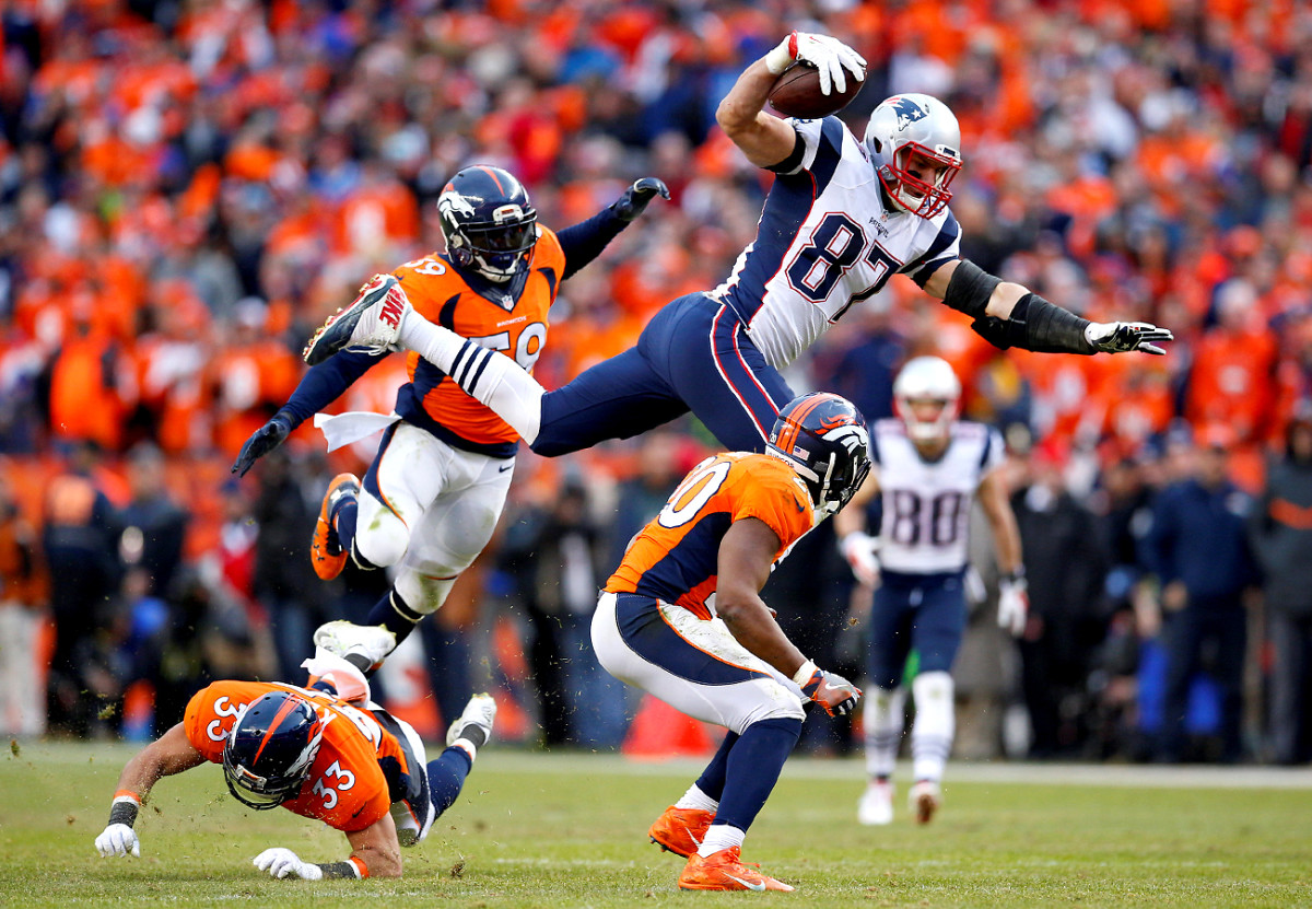 Gronkowski had 15 catches and three TDs in two playoff games last season.