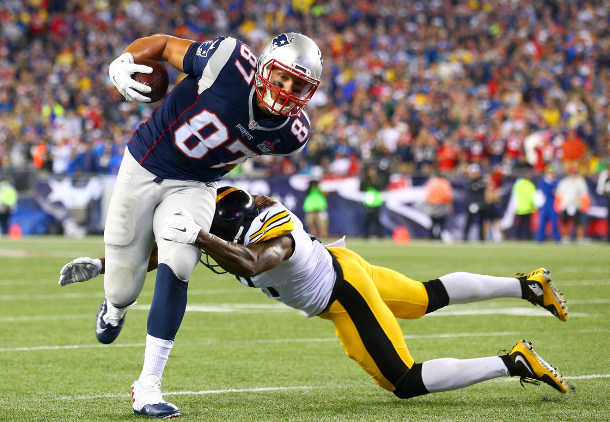 Defenses must contend with a tight end who can line up anywhere on the field; Gronk scored from three different spots against Pittsburgh last year.