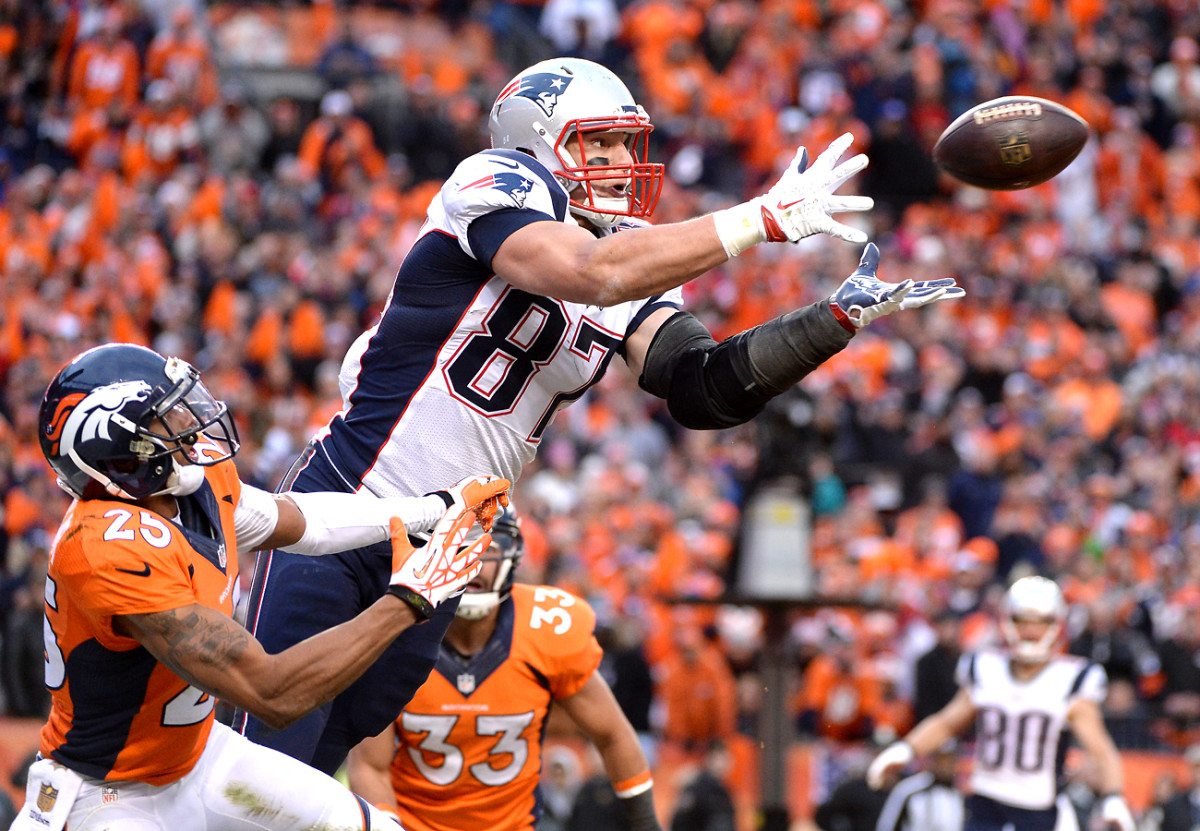 """At 6'6"""" and 265, Gronkowski towers over DBs."""