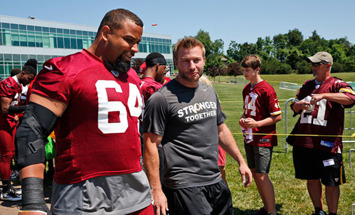 Offensive coordinator Sean McVay with Golston at June minicamp.