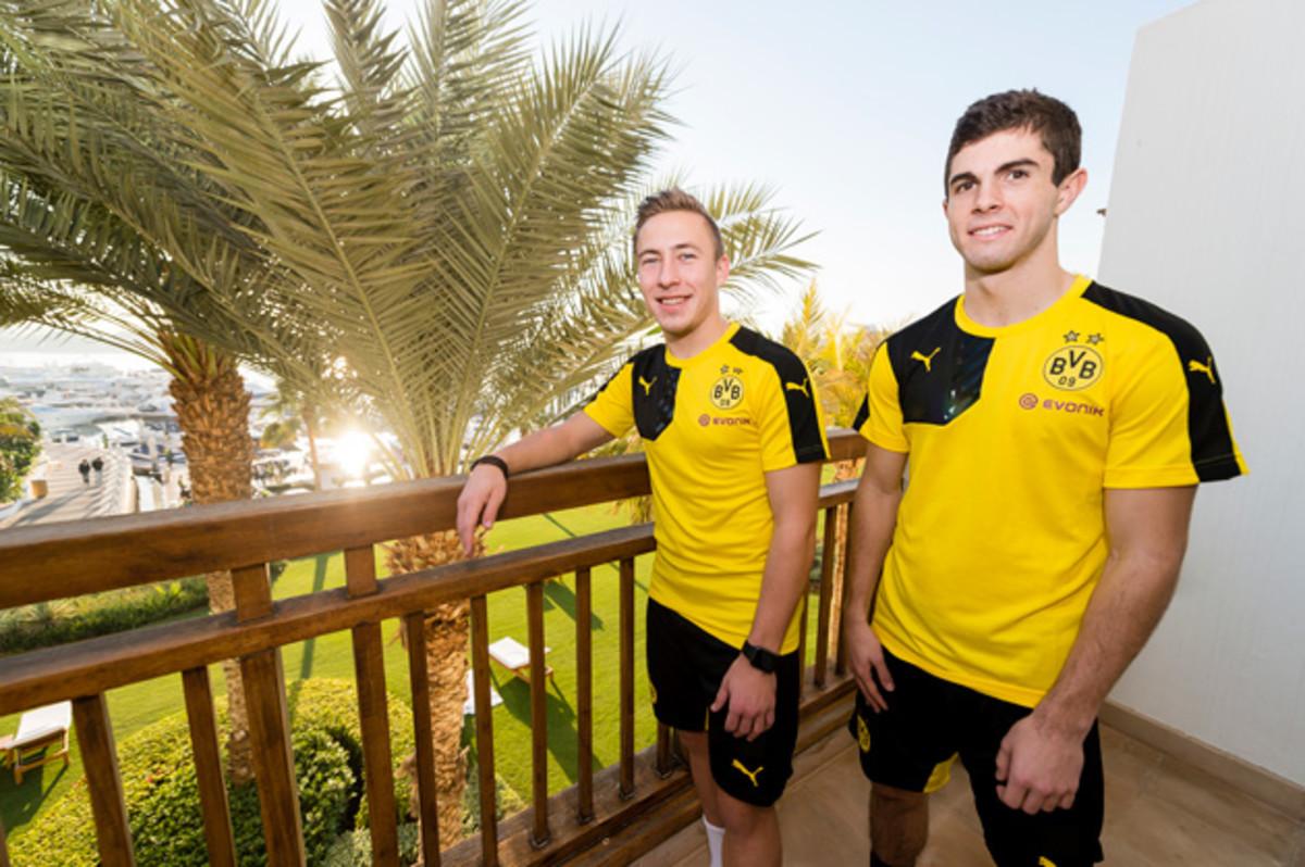 USA prospect Christian Pulisic, right, with Dortmund teammate Felix Passlack.