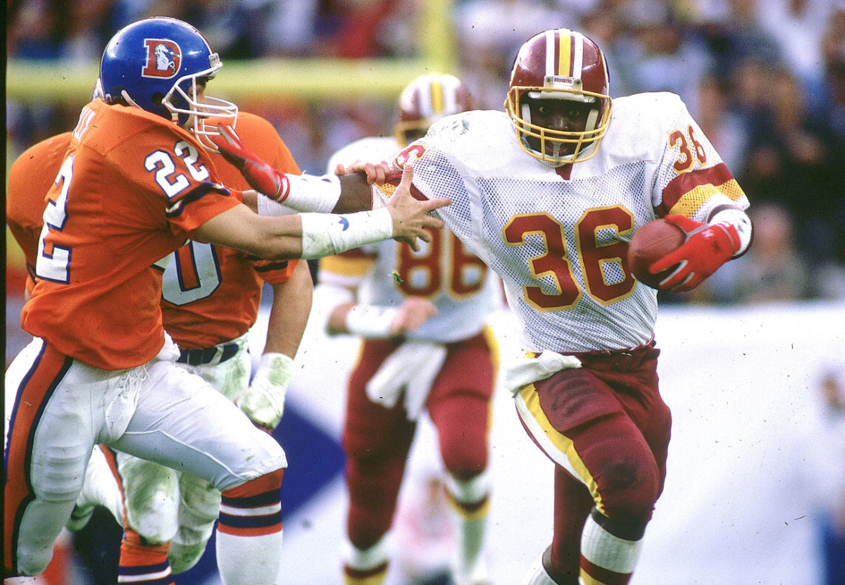 A fifth-round pick in 1987, Smith had just 29 carries during the regular season, but hauled the ball 22 times against Denver in the Super Bowl.