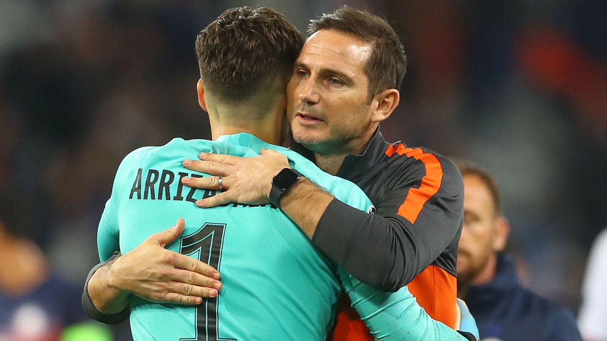Chelsea's Kepa Arrizabalaga and Frank Lampard hug