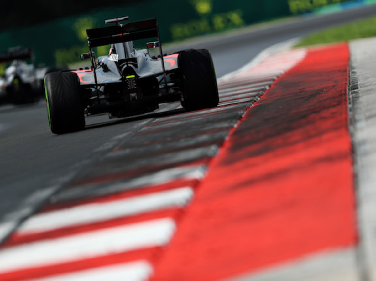 Jenson Button's McLaren-Honda, the lone retirement in Hungary.