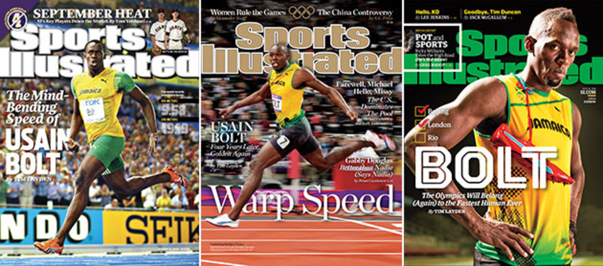 Usain Bolt has been on the cover of Sports Illustrated three times: (L-R) In 2009 after setting two world records, in 2012 after winning three gold medals at London Olympics and in 2016 before his final Games. Every cover story was written by SI senior writer Tim Layden.