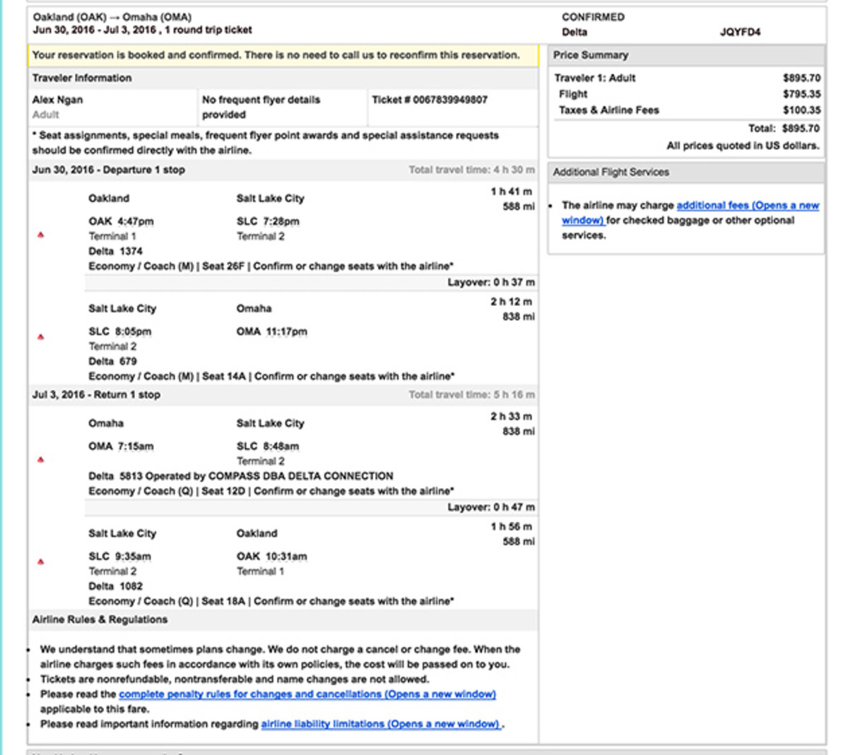 The flight itinerary for Ngan's ill-fated trip to Omaha.