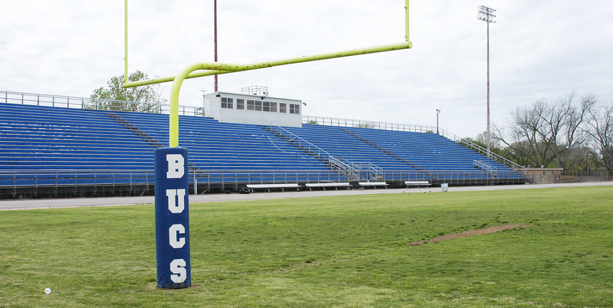Newton and his Blinn teammates painted these bleachers in 2009, but the team no longer uses this field for games.