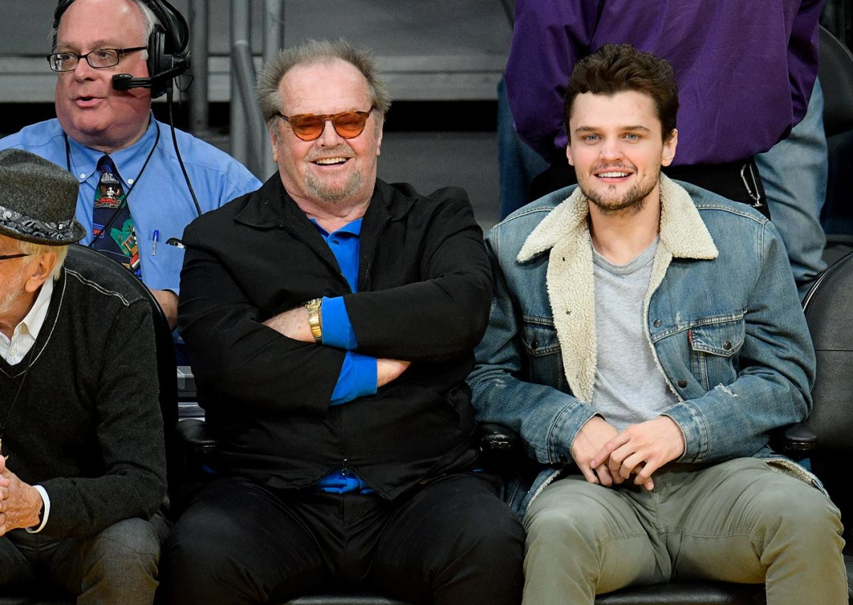 Jack Nicholson and his son Ray attend the Golden State Warriors game against the Los Angeles Lakers on Nov. 4, 2016 at Staples Center in Los Angeles.