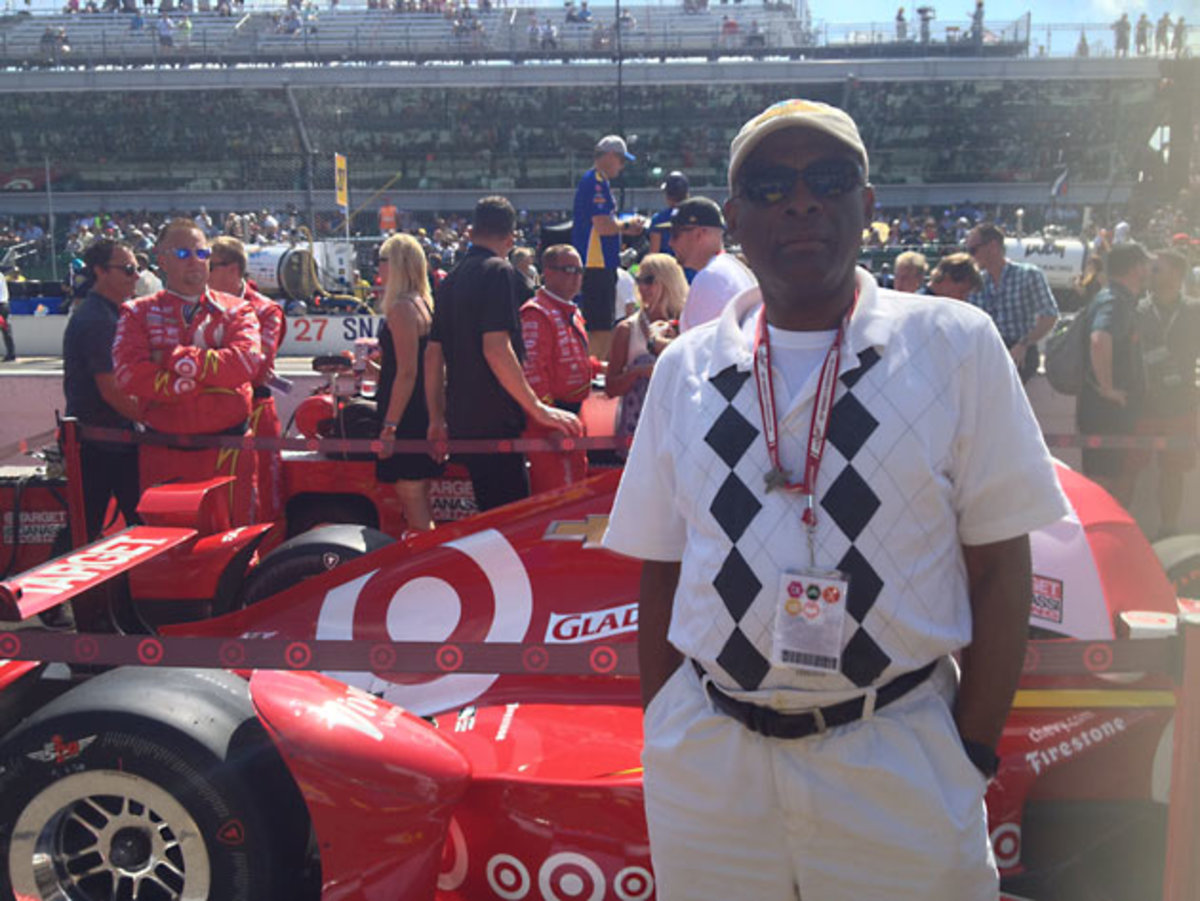 My dad in front of Scott Dixon's car. This our third Indy 500 together.