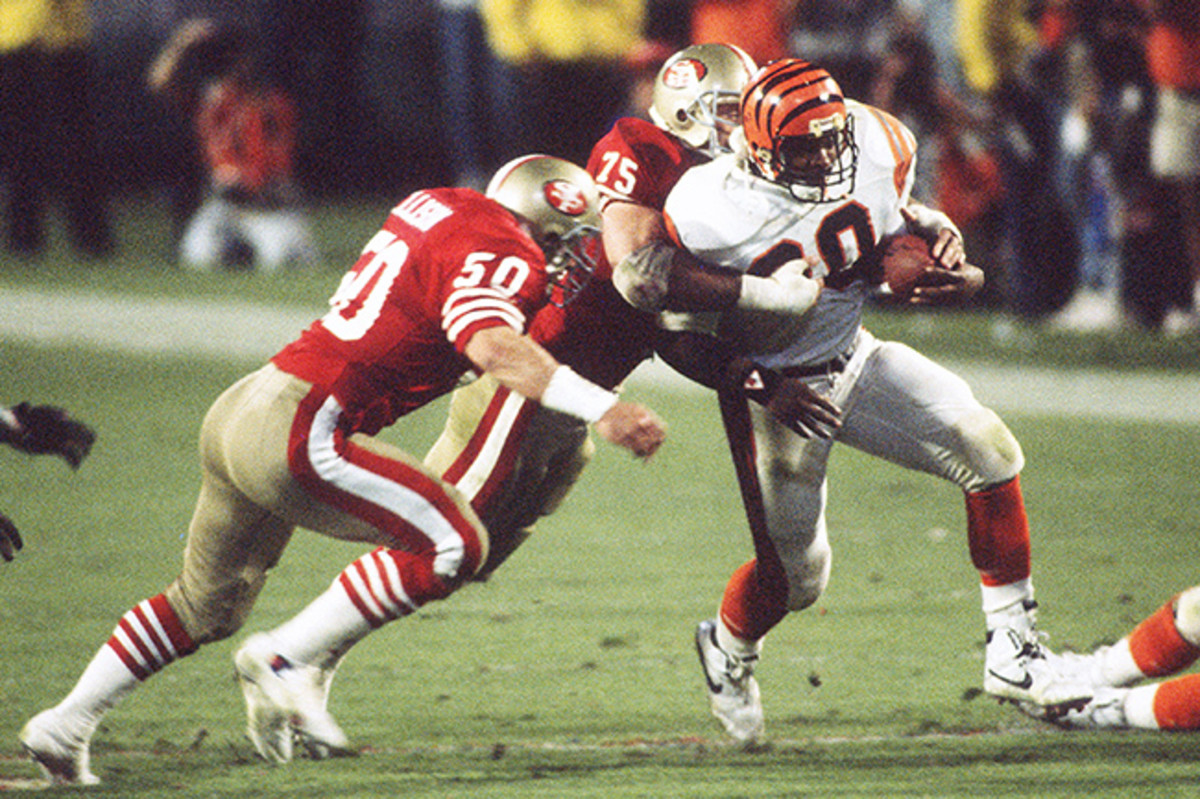 Woods rushed for a game-high 79 yards on 20 carries in Super Bowl XXIII.