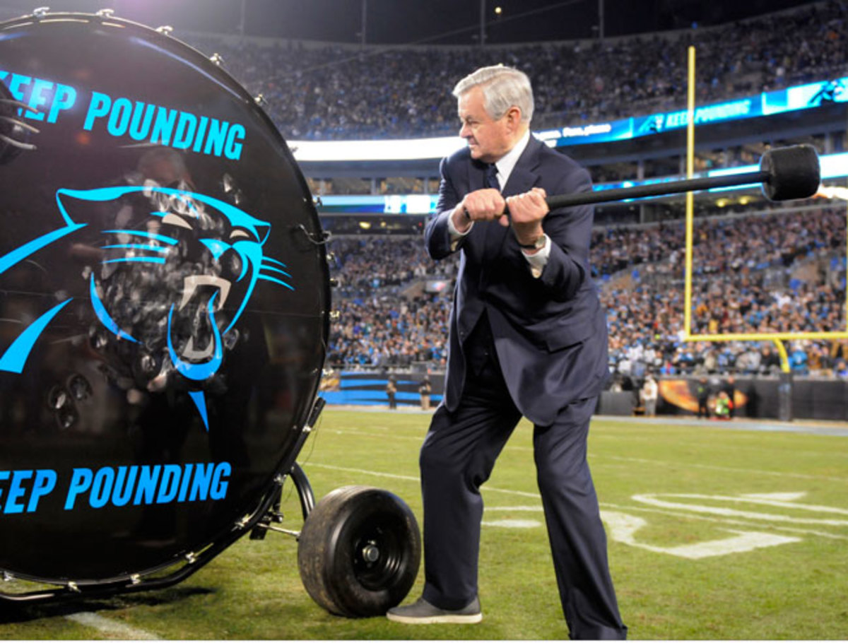 The owner bangs the drum before the NFC title game.