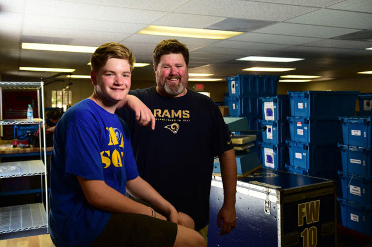 Jim Lake and his eldest son, Jonathan, at the L.A. Rams' temporary headquarters in Oxnard, Calif.