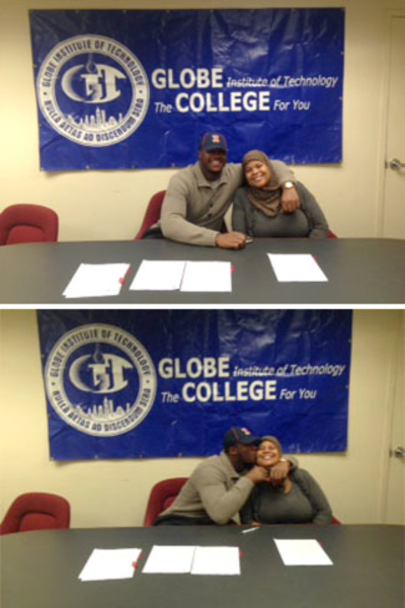 Signing day at Globe Tech: Jihad Ward and mom Kareema.