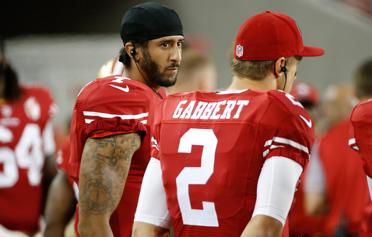 Kaepernick has slipped down the 49ers quarterback depth chart and currently sits behind expected starter Blaine Gabbert.