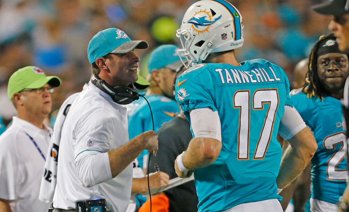 In the preseason, Ryan Tannehill has looked comfortable in new coach Adam Gase's offense.