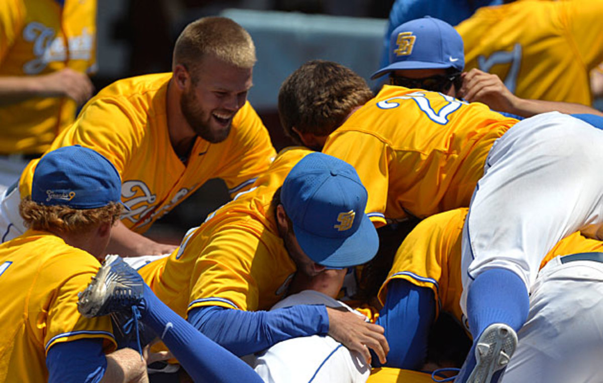 UC Santa Barbara celebrated a wild, upset win over Louisville on June 12 that clinched a CWS bid.