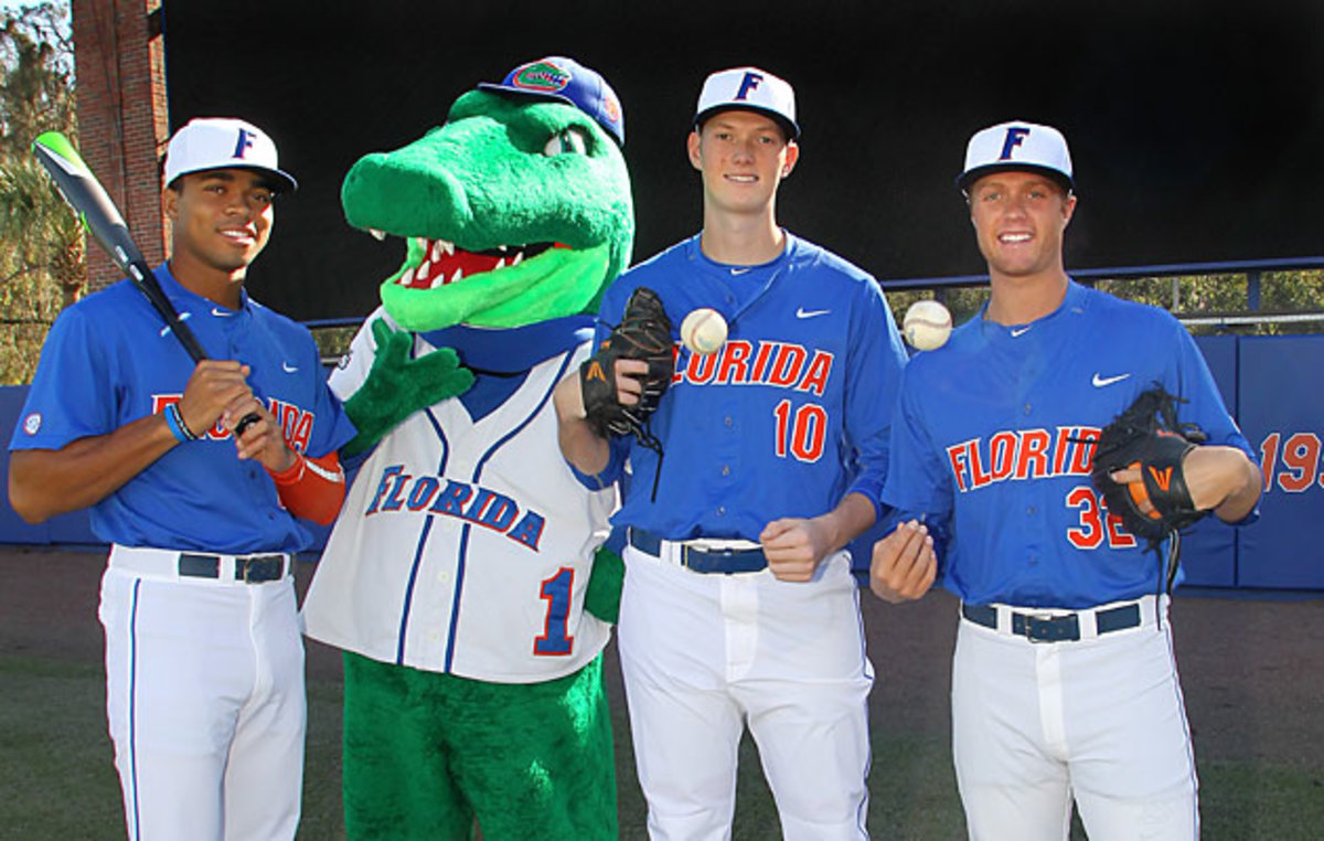 Outfielder Buddy Reed and pitchers A.J. Puk and Logan Shore (L-R) were all taken in this month's MLB draft.