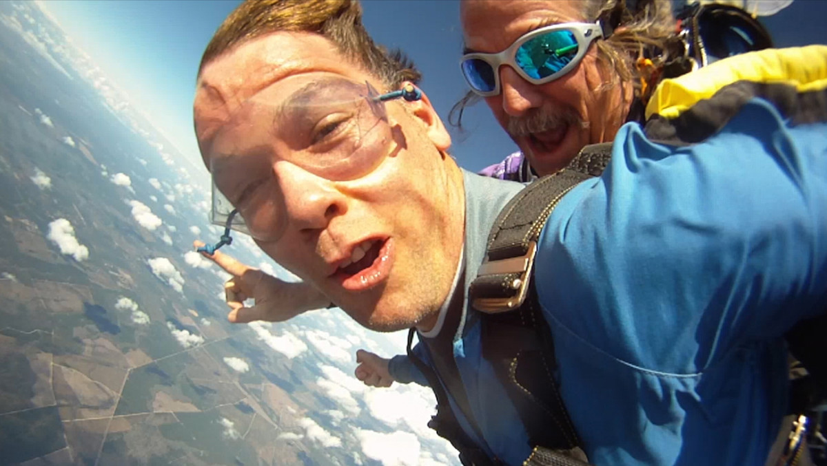Gleason went skydiving for a fundraiser on the one-year anniversary of his diagnosis.