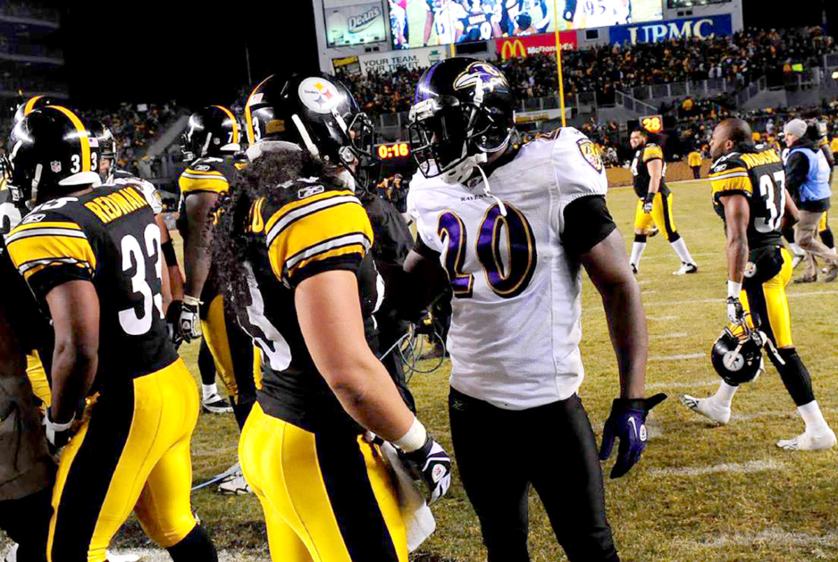 Troy Polamalu and Ed Reed after the 2011 divisional game, a Steelers win.